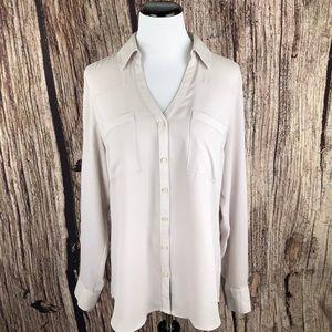 Express Portofino Shirt Beige Blouse Top M